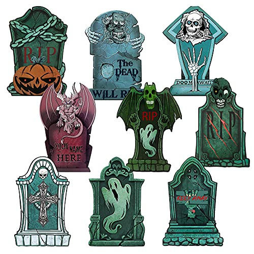 OEAGO Halloween Decorations Outdoor 9 PCS Tombstone Yard Signs for Halloween for $13.27