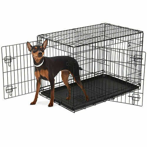 Black Dog Crate Kennel Folding Pet Cage Tray Metal Double Door Heavy Duty 48quot; $53.49