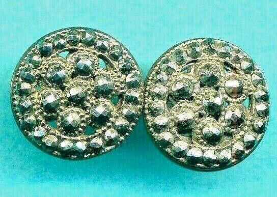 Pair of Super Sparkly Cut Steel Antique Buttons…Perfect for Earrings…11 16quot;
