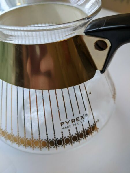 Pyrex Vintage Glass Gold Stripe Coffee Pot 4 Cup Carafe Made in USA