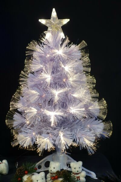 Pre Lit Artificial White Fiber Optic Christmas Tree w Star and Stand $38.99