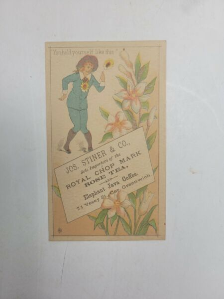 JOS.STINER amp; CO...SOLE IMPORTERS OF TEA AND COFFEE..TRADE CARD