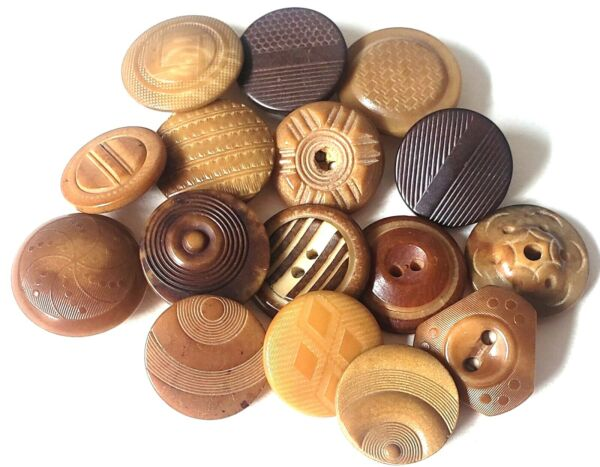 16 Vegetable Ivory Antique Buttons with Fancy Patterns