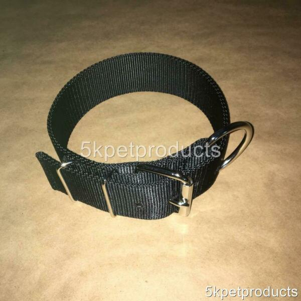 LARGE DOG COLLAR 2quot; WIDE DOUBLE PLY NYLON HEAVY DUTY PIT BULL COLLAR MADE IN USA $11.99