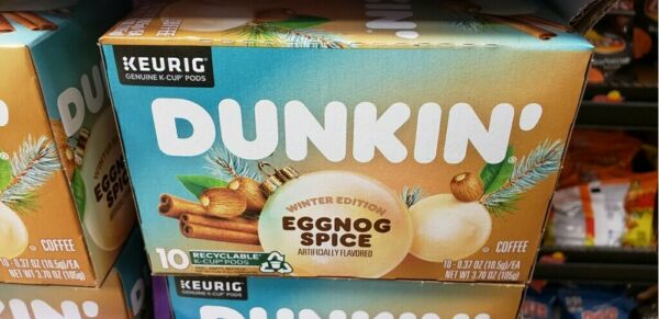 Dunkin Winter Edition Eggnog Spice Coffee 10 count Keurig K Cups Dunkin Donuts