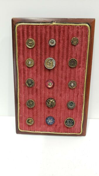 lot of 15 Antique buttons on display board