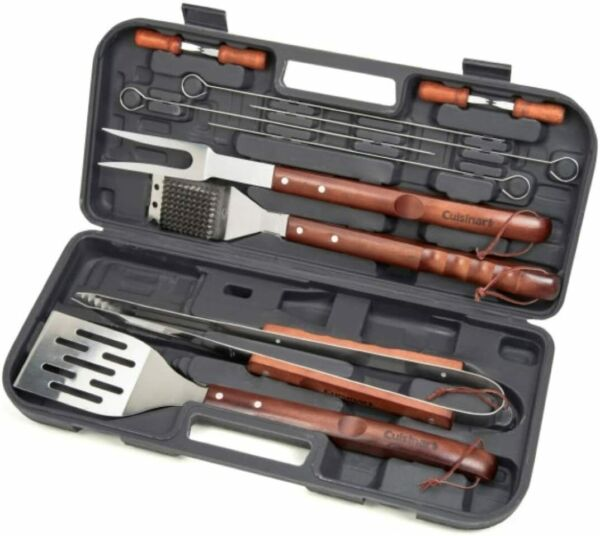 Cuisinart CGS W13 Wooden Handle Grilling Tool Set 13 Pcs with Black Carry Case