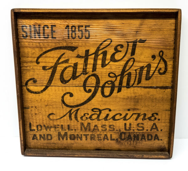 Vintage Framed Wood Crate Advertising Panel Father John#x27;s Medicine Lowell MA.