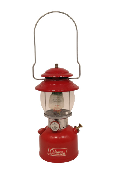 COLEMAN #200 A SINGLE MANTEL GAS LANTERN RED FULLY TESTED $185.00