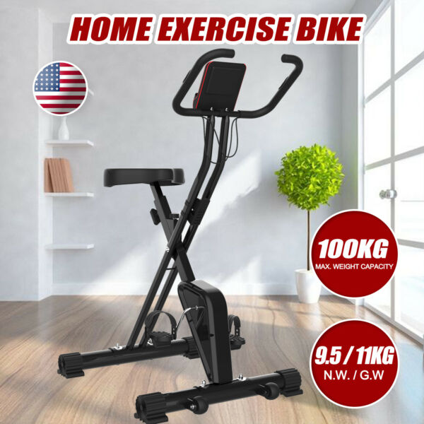 Indoor Exercise Workout Foldable Stationary Upright Cycling BikeHeart Rate LCD $84.99
