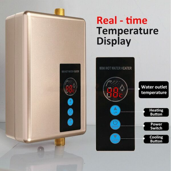 Digital Electric Water Heater Remote Control Instantaneous Tankless Fast Heating $74.99