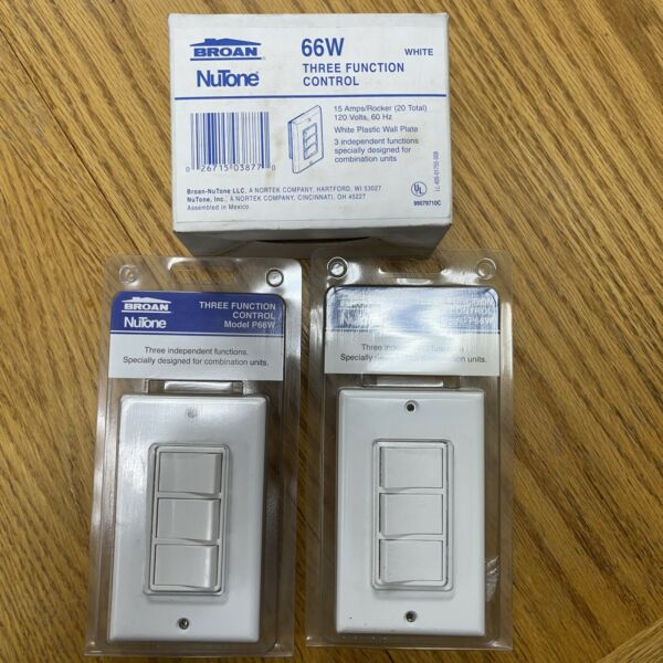 Broan Nu Tone Three Function Control On Off Wall Switch P66W quantity 3 $60.00