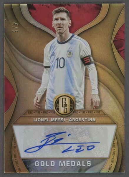 2019 20 Panini Gold Standard Soccer Medals Lionel Messi Signed AUTO 4 5
