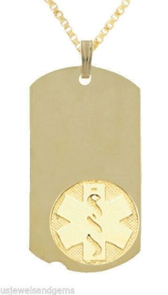 New 10k or 14k Yellow Gold Medical Alert ID Dog Tag Pendant Charm Necklace