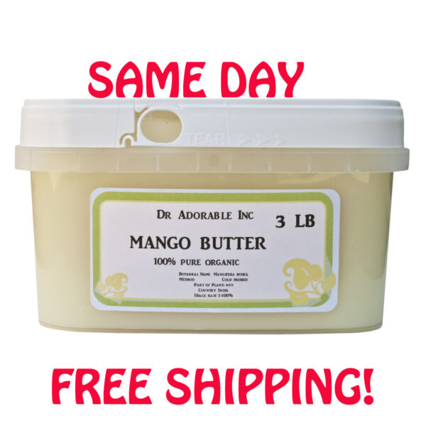 RAW MANGO BUTTER FRESH ORGANIC COLD PRESSED 2 OZ 4 OZ 8 OZ 1 LB 2LB-UP TO 12L