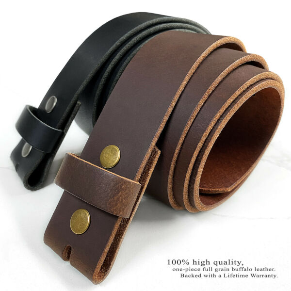 One Piece Solid Leather Belt Strap 1-12