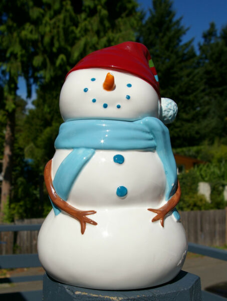 Starbucks Coffee Company Big! Winter Snowman Snow Man Cookie Jar Canister 2006