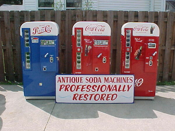 Three Restored Pepsi VMC 81 Vendo 81 D A Coca Cola Coke Machines 44 39 96 sign