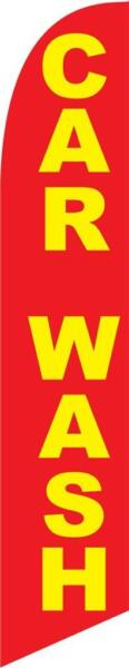 Car Wash red and yellow 12ft Feather Banner Swooper Flag FLAG ONLY $16.99