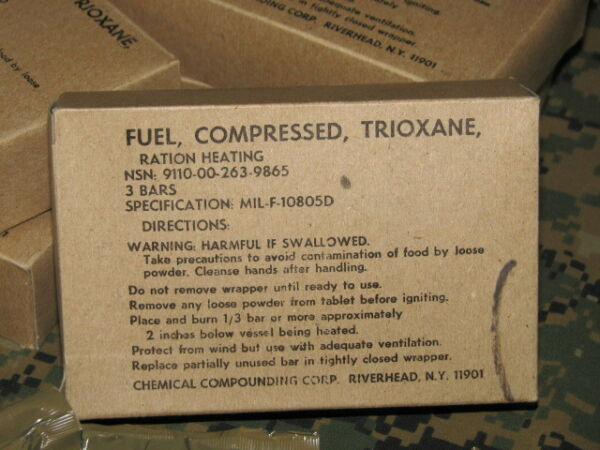 trioxane fire starter military issue large box w 3 tablets compressed fuel