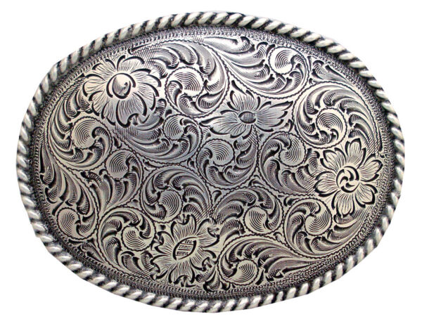 WESTERN COWBOY COWGIRL OVAL ROPE SILVER PLATED RODEO TROPHY BELT BUCKLE $12.55