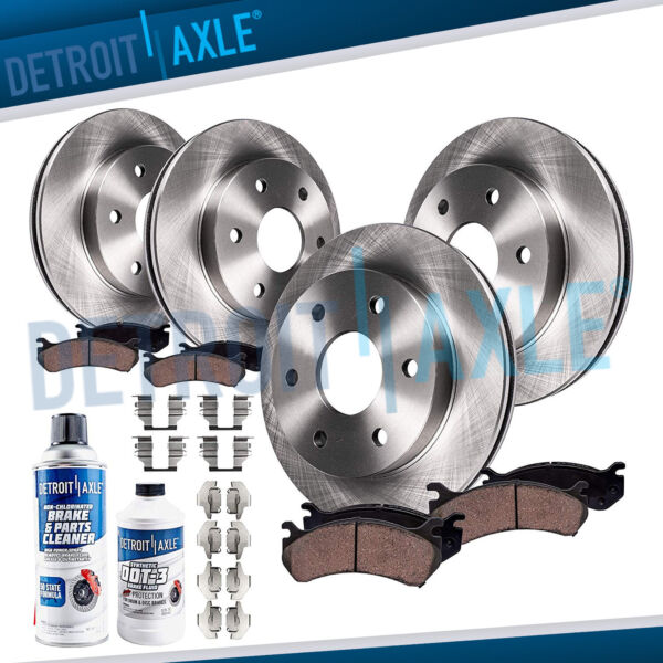Front & Rear Rotors Ceramic Brake Pads Chevy Traverse GMC Acadia Buick Enclave