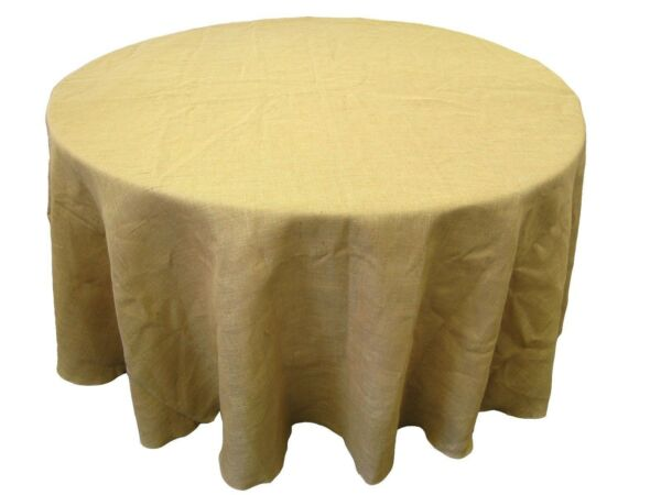 10 Round 108 inch Burlap Tablecloths 100% Natural Refined Jute Wedding 48