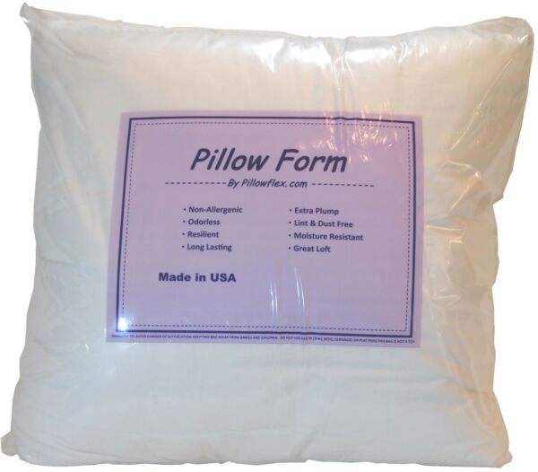Pillowflex Poly Cotton Pillow Form Inserts Square and Rectangle Machine Washable