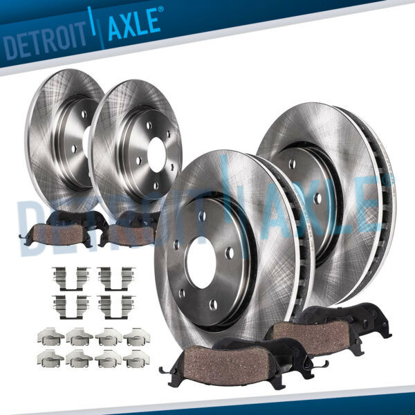 Front & Rear Brake Rotors + Ceramic Pads Chrysler Town & Country Dodge Caravan