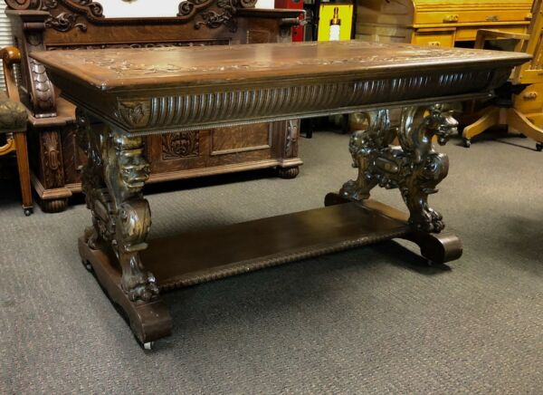 VICTORIAN HORNER GRIFFIN LIBRARY PARTNERS TABLE C.1880 QUARTER SAWN TIGER OAK