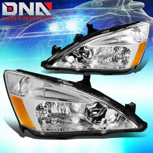 FOR HONDA ACCORD 2003 2007 2DR 4DR JDM CHROME HOUSING AMBER CORNER HEADLIGHTS