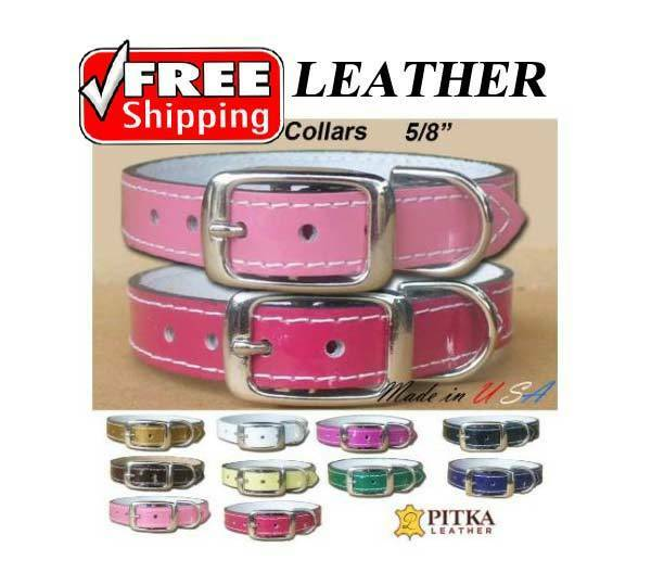 Small Dog Leather Collars Cat Leather Collars Studded Pet Patent Collars $16.00