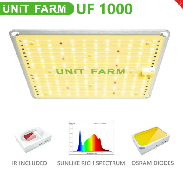 Unit Farm UF 1000W LED Grow Light Full Spectrum for Indoor Plants Veg Flower Kit