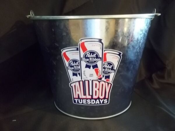 NOS NEW PABST BLUE RIBBON BEER PBR TALLBOY TUESDAYS METAL ICE BUCKETPAIL