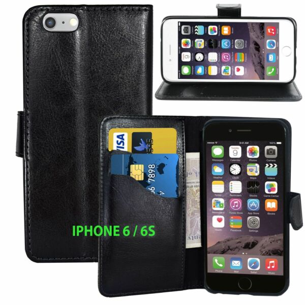 Black Wallets LEATHER Case with Card Slots for Apple iPhone 6 6S UK FREE POST GBP 2.99