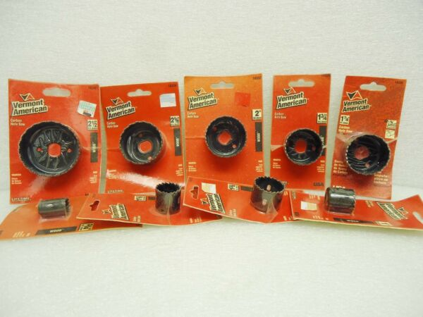 (NEW) Lot of Vermont American Carbon Hole Saws 9 sizes (see description)