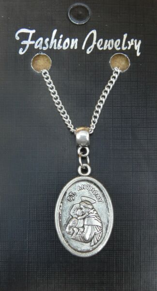 St Anthony Pendant Necklace 18quot; or 24 Inch Chain Saint Charm Religious Sacred GBP 4.49