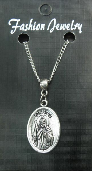 St Jude Pendant Necklace 18quot; or 24 Inch Chain Religious Holy Saint Charm GBP 4.49