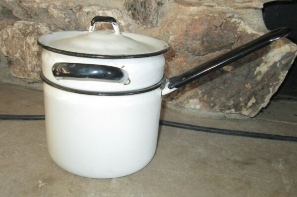 Vintage Enamelware 3 piece double boiler white black $23.99
