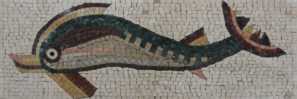 Dolphin Tradition Phoenician Greek Stone Tile Marble Mosaic AN1152