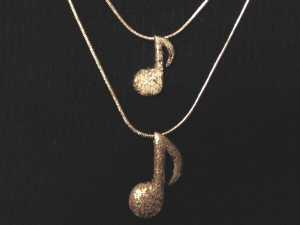 Double Stand Snake Chain Necklace w Music Notes 925 Silver $12.99