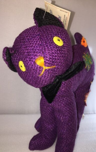 HARD BURLAP PURPLE Halloween Cat Stuffed Plushie Toy by Toy Parade New