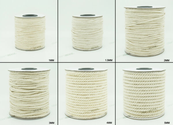 1mm 5mm 100% Natural White Cotton Twisted Cord Craft Macrame Artisan String