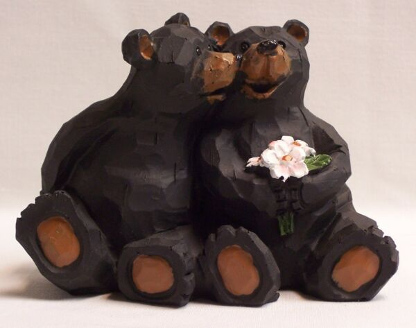 Black Bear Couple With Flowers Figurine Home amp; Cabin Decor EAC