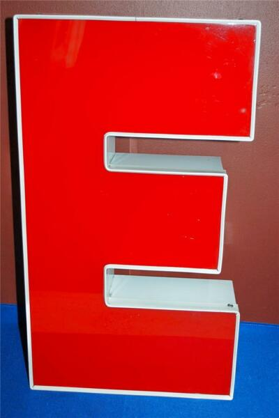 RED WHITE OUTDOOR INDOOR LARGE ACRYLIC ADVERTISING SIGN LETTER E XX $49.99