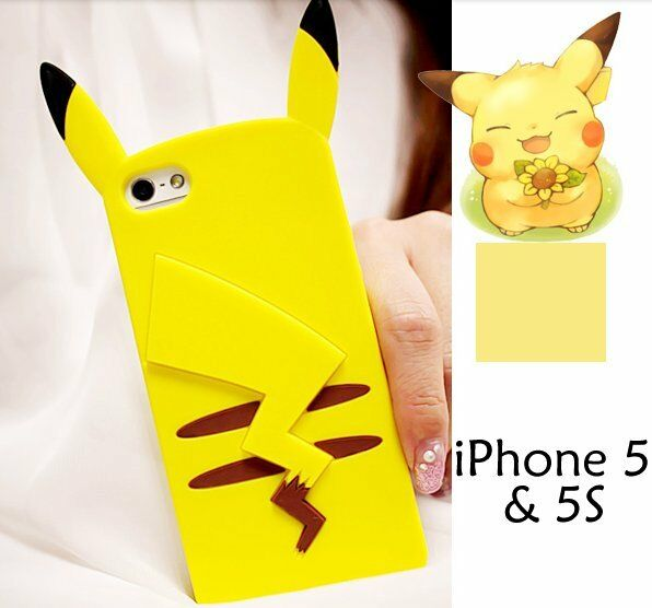 For iPhone SE / 5S - YELLOW POKEMON PIKACHU Soft Rubber Silicone Skin Case Cover