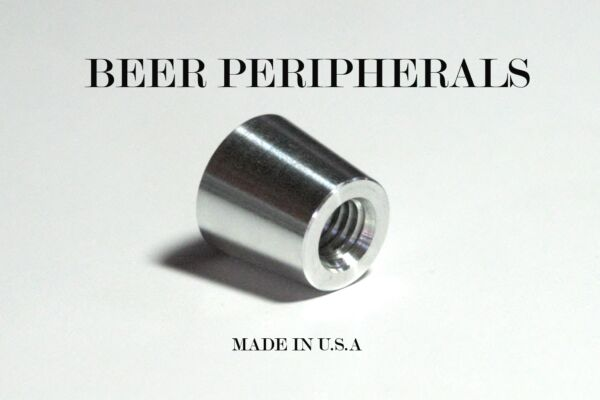 NEW 0.75quot; Beer Tap Handle Ferrule Tapered Chrome Long 5 16quot; 3 8quot; Threaded Hole