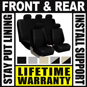SOLID BLACK COMPLETE FULL CAR SEAT COVERS SET - OEM Solid Rear Truck SUV B07