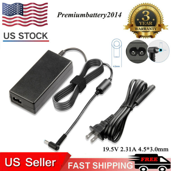 45W AC Adapter Charger for HP Laptop 19.5V 2.31A Power Supply Cord 4.5*3.0mm p