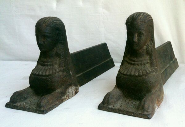Amazing pair of egyptian revival cast iron andirons - Fire dogs